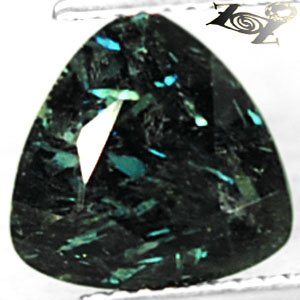3.39 CT.Natural Trillion 9.5mm. Greenish Blue Schiller Streaks Jenakite Nuummite