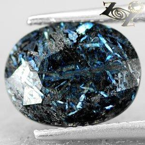 3.85 Ct.Natural Oval 10*12 mm. Green Blue Scheen Nuummite Jenakite
