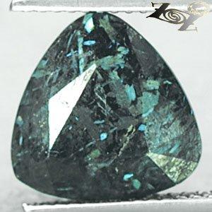 5.23 CT.Natural Trillion 11 mm.Titanium Green Blue Scheen Streaks Jenakite Gems