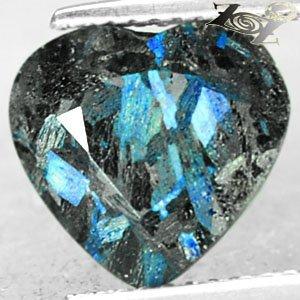 4.6 Ct.Natural Heart 10*11 mm. Titanium Blue Scheen Full Table Streaks Jenakite