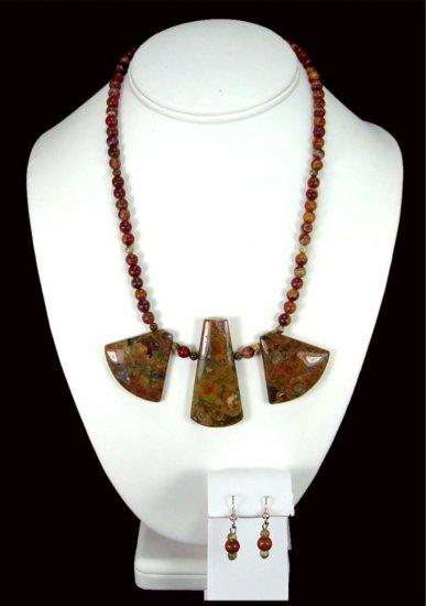 Handcrafted Kambaba Jasper Necklace Free Earrings
