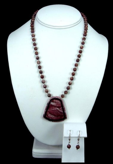 Handcrafted Red Picture Jasper Necklace Free Earrings