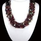 Mookaite And Pearl Chips Woven Necklace