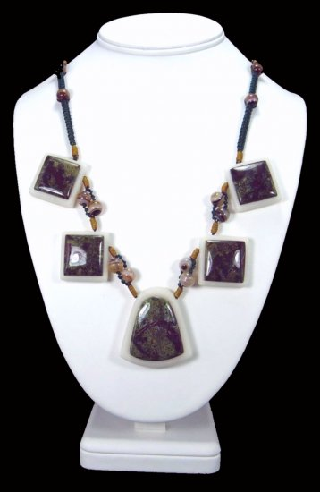 African Bloodstone Handcrafted Intarsia Necklace