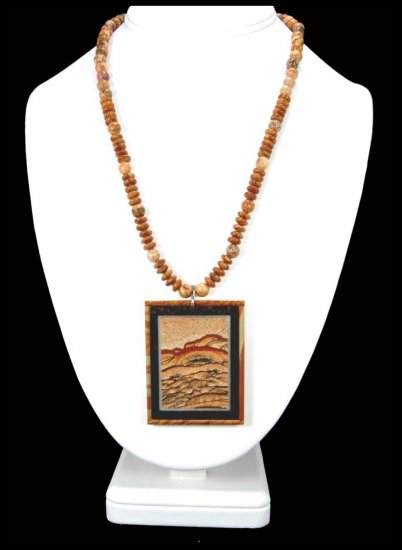 Handcrafted Queen Picture Jasper Intarsia Necklace