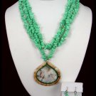 Intarsia Necklace Green Turquoise Free Earrings