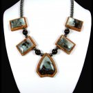 Multi-Color Amazonite Intarsia Necklace