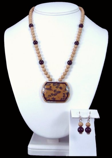 Petrified Coral Intarsia Necklace Free Earrings