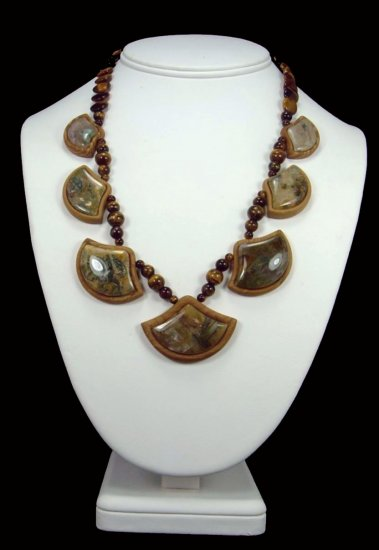 Sagenite Agate Intarsia Necklace