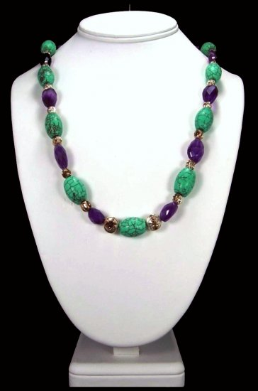 Handcrafted Turquoise And Amethyst Necklace