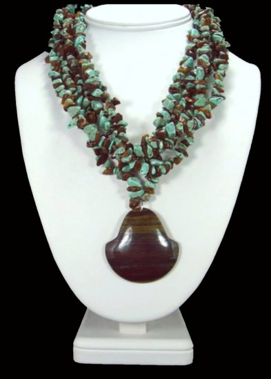 Old Tiger's Eye Pendant On Turquoise Necklace