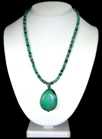 Oval Turquoise Pendant On Shell Heishi Handcrafted