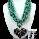 Turquoise and Heart Necklace Free Earrings