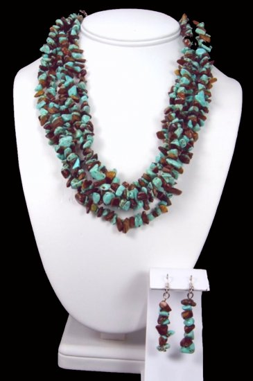 Turquoise And Tiger's Eye Necklace Free Earrings
