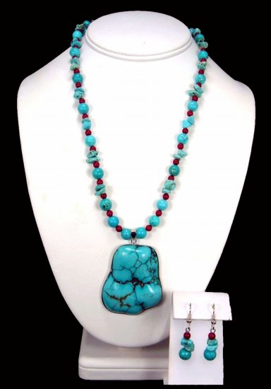 Turquoise Large Chunk Pendant With Coral Free Earrings