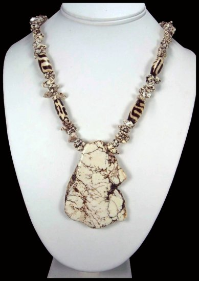 Handcrafted White Turquoise Slab Pendant