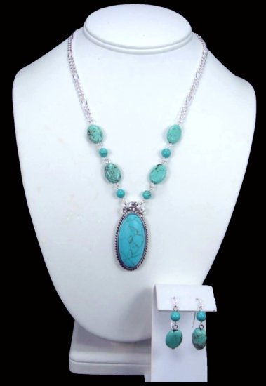 Oval Turquoise Pendant Accented With CZ's Free Earrings