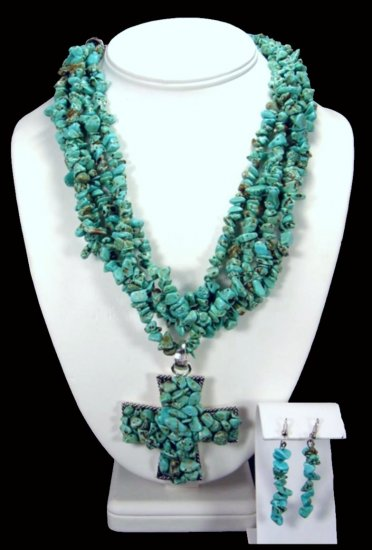 Turquoise And Large Cross Necklace Free Earrings