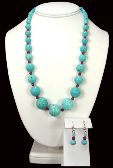 Turquoise And Red Coral Necklace Free Earrings