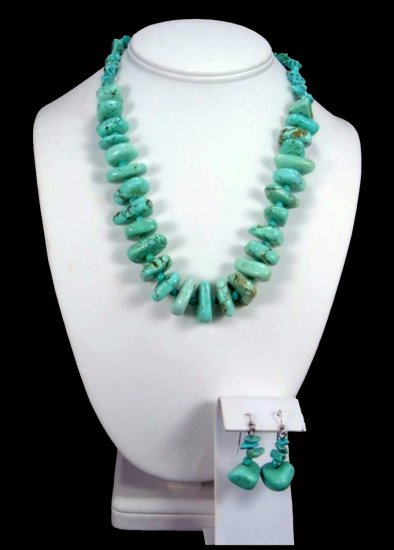 Turquoise Chunk Necklace Free Earrings