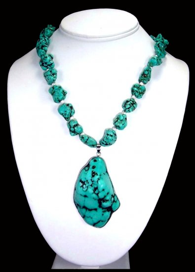 Turquoise Chunk Necklace With Large Pendant