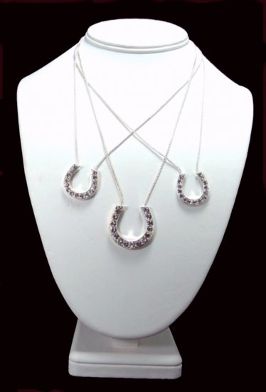 Western Cowgirl CZ Three Horseshoe Necklace