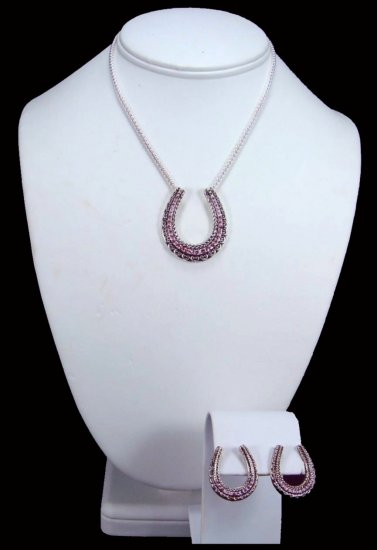 Western Cowgirl Pink CZ Horseshoe Necklace Free Shipping