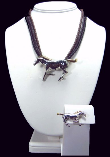 Western Cowgirl Running Horse Necklace