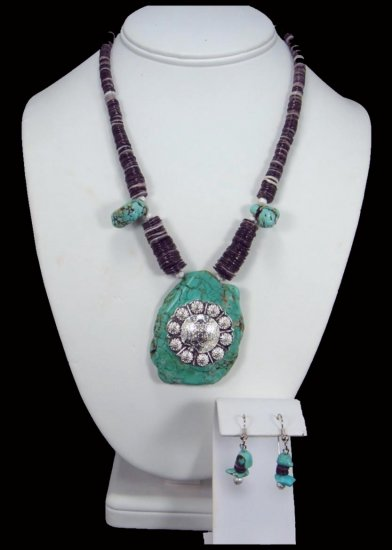 Western Cowgirl Turquoise Slab Concho Necklace Free Earrings