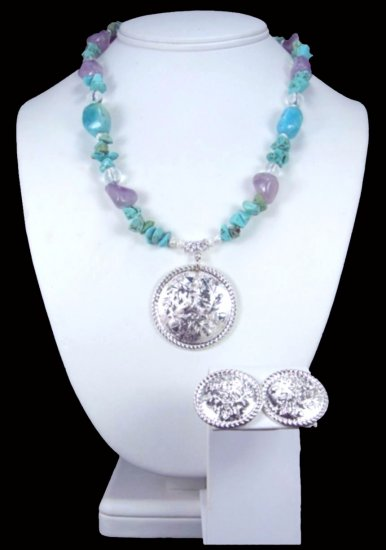 Western Cowgirl Turquoise And Amethyst Concho Necklace Free Earrings