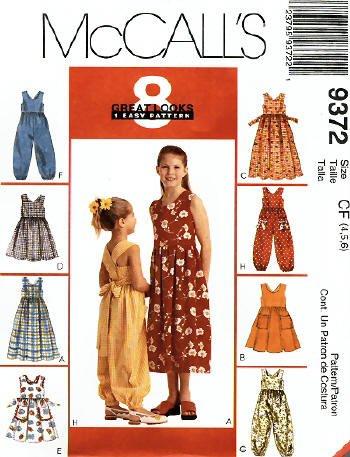 MCCALLS 9372 Girls Sundress & Jumpsuit PATTERN