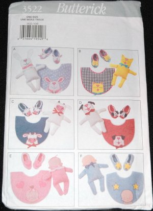 Butterick 3522 Craft Pattern Baby  Bibs