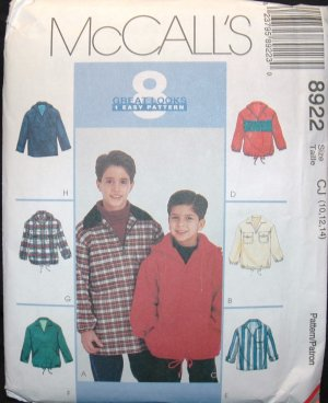 MCCALLS  8922 Children's & Boys Pullover Tops