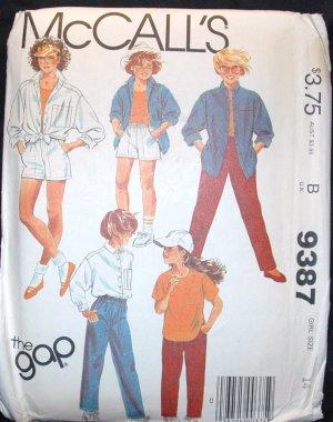 MCCALLS  9387 Girls Shirt, Top and Pants or Shorts