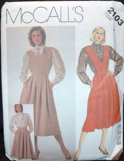 MCCALL'S  2103 SEWING PATTERN FOR MISSES' SKIRT, BIBS AND BLOUSE SZ 6