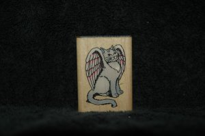 COMOTION WINGED CAT RUBBER STAMP