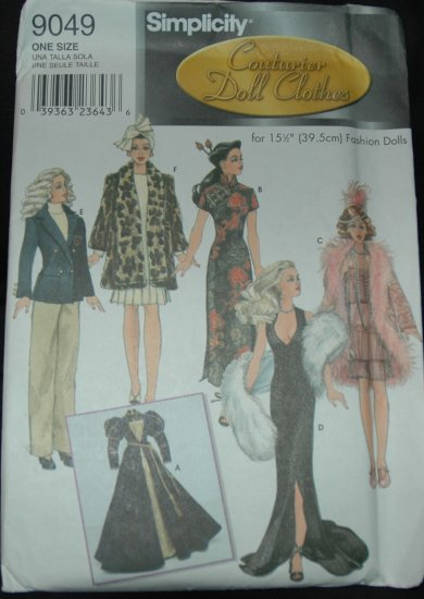 "Simplicity 9049 15 1/2"" Doll Fashion Doll Clothes"