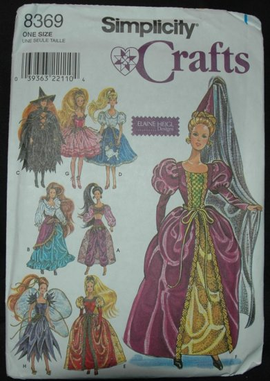 "Simplicity 8369 11 1/2""  Doll Costume Patterns"