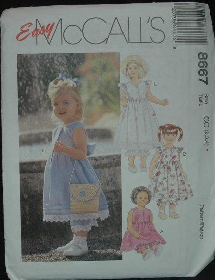 MCCALLS 8667 Toddlers' Dress and Pantaloons 2,3,4