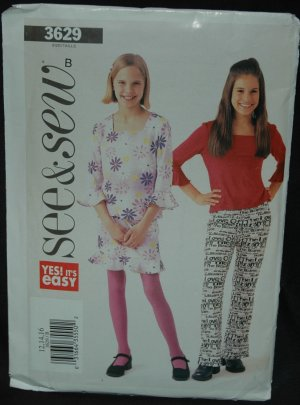 Butterick See & Sew 3629 Girl's' Top, Skirt and Pants