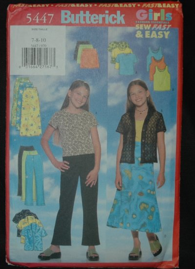 Butterick 5447 Sewing Pattern For Girl's' Top, Skirt and Pants
