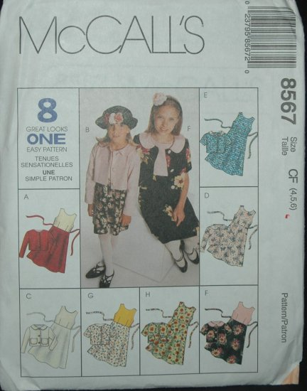 McCalls 8567 Children's Unlined Jacket and Dress