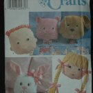SIMPLICITY 7871  CAT, DOG, BUNNY, BOY AND GIRL PILLOW 11""
