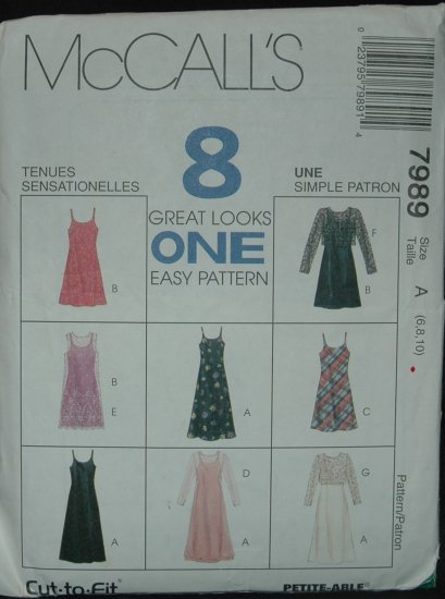 MCCALLS 7989 MISSES' SLIP-DRESS AND DRESS BOTH IN TWO LENGTHS AND TOP