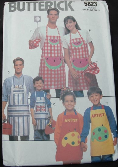 BUTTERICK  5823 CRAFT PATTERN - FAMILY APRONS & ALPHABET