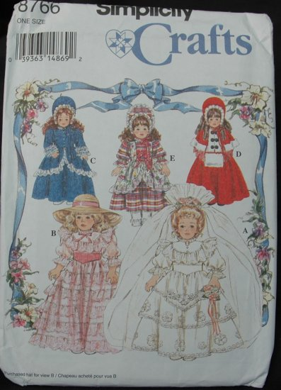 """Simplicity 8766 16"""" &18"""" Doll  Clothes Pattern"""