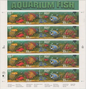 "U.S. POSTAGE STAMPS ""AQUARIUM FISH"""