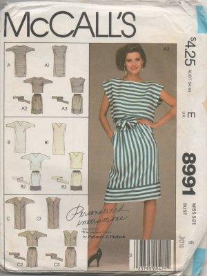 MCCALLS 8991 MISSES' DRESSES OR TOP SKIRT AND TIE BELT