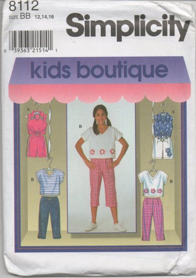 SIMPLICITY 8112 GIRLS' TOP AND CAPRI PANTS OR SHORTS SIZE 12,14,116