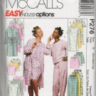 MCCALLS P276  MISSES' ROBE, NIGHTGOWN OR TOP AND PULL-ON PANTS
